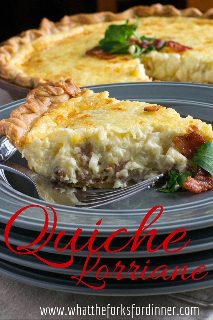 Quiche Lorraine - Pinner combined Julia Child's Recipe and Betty Crocker's.  Preheat oven to 400 degrees, bake crust for 8 min.  Reduce temperature to 375 degrees, bake quiche 30 min. Let stand 10 min.