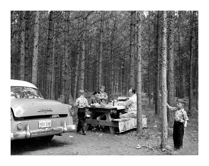 Roadside Picnic Area East of Cass Lake, Minnesota, 1953 Source: National Archives    We did this all the time on trips, no fast food for us back then.