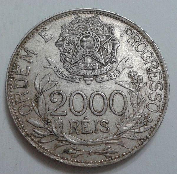 BRASIL - 2000 RÉIS DE PRATA ANO 1903 ESTRELAS LIGADAS...