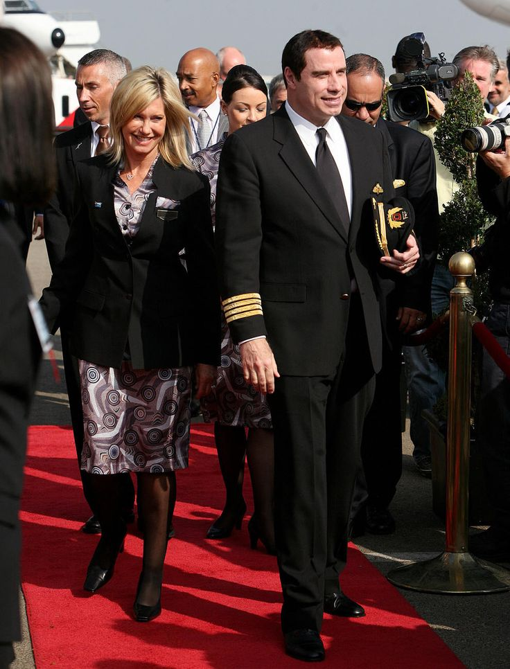 John Travolta and Olivia Newton-John at the arrival of the Qantas A380 in Los Angeles during October 2008.