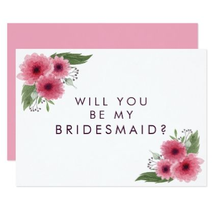 Pink Chrysanthemum Will You Be My Bridesmaid Card - floral style flower flowers stylish diy personalize