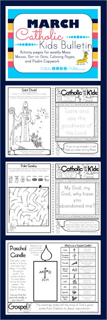 FREE bulletins for Catholic Kids to use during Mass! March covers Holy Week & Easter! There are saint, gospel stories, and psalm copywork. Coloring pages, dot-to-dot, and mazes...awesome!