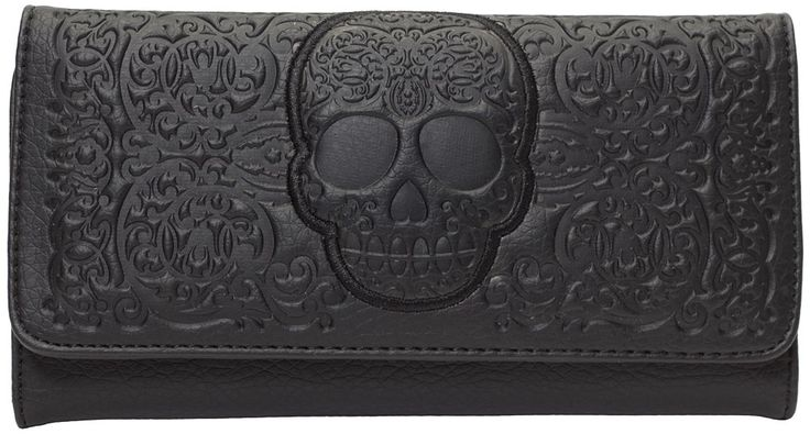 LOUNGEFLY BLACK ON BLACK LATTICE SKULL WALLET Loungefly does it again with the Black on Black Skull wallet! The sleek & simple faux leather Lattice Skull wallet makes a big bold statement with the intricate skull & lattice design, magnetic snap closure & enough room inside for you cash & cards. $30.00