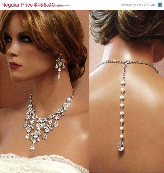 Bridal necklace, Vintage inspired bridal jewelry, Bridal back drop bib necklace , crystal pearl bridal statement, rhinestone jewelry