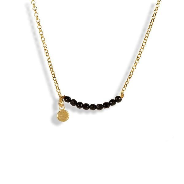 Handmade Gold Plated Silver Short Chain Necklace Black Onyx Beads - Anthos Crafts - 1
