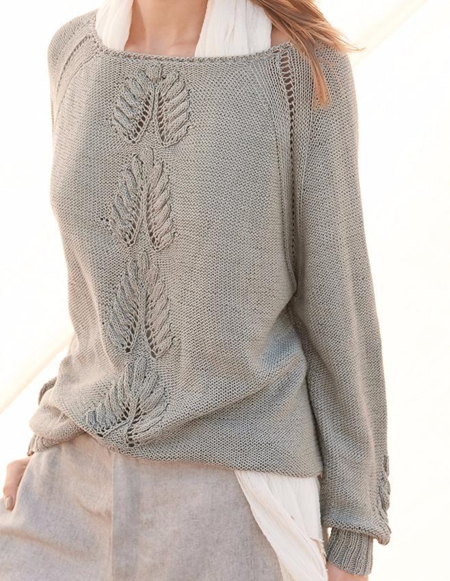 Связать Пуловер по схеме на сайте «Люди Вяжут». Пуловер из пряжи Lana Grossa SOLO LINO, связать Пуловер спицы, спицы. Более 2000 современных, модных моделей для вязания на сайте «Люди Вяжут».
