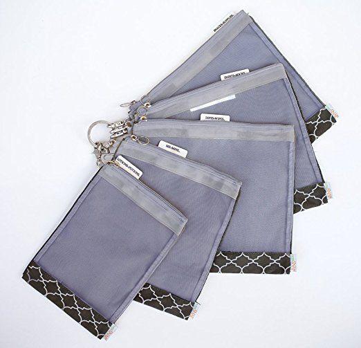40$ sugarSNAP Files A Set of 5 Mesh Diaper Bag Organizer Inserts (black+white)