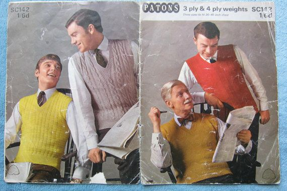 Vintage knitting pattern Not PDF mens by thevintagemagpie01