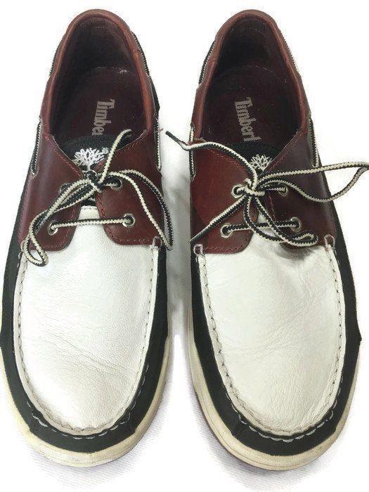 b7ba7a653a74d Timberland Mens Boat Shoe Size 10M Leather Tan Black White 2 Eye ...