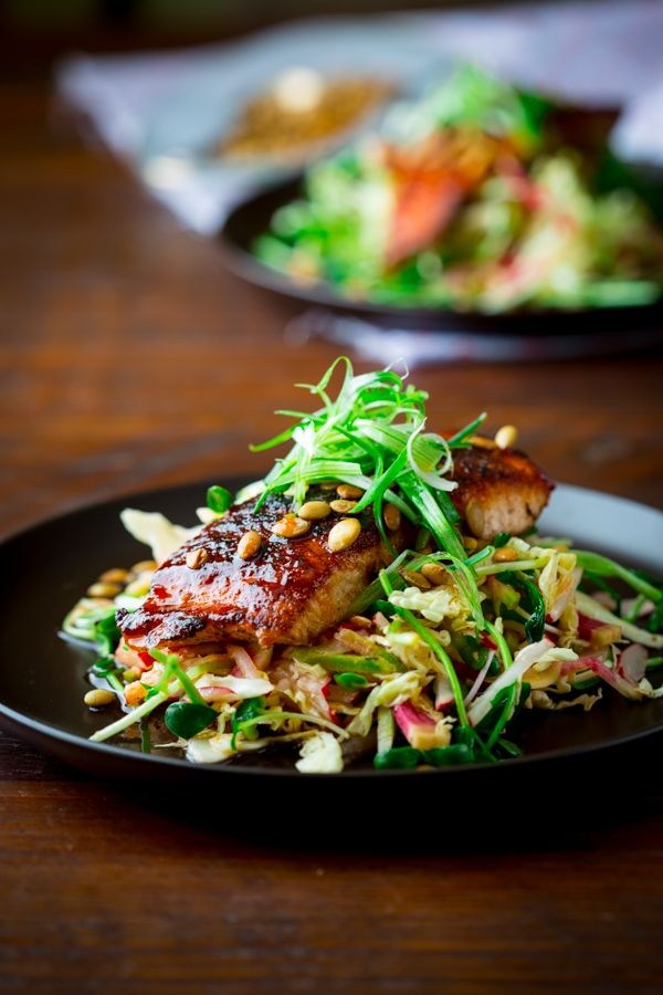 Looks so good!! Hot and Sweet Slaw with Jerk Spiced Salmon ~ Paleo and Gluten Free