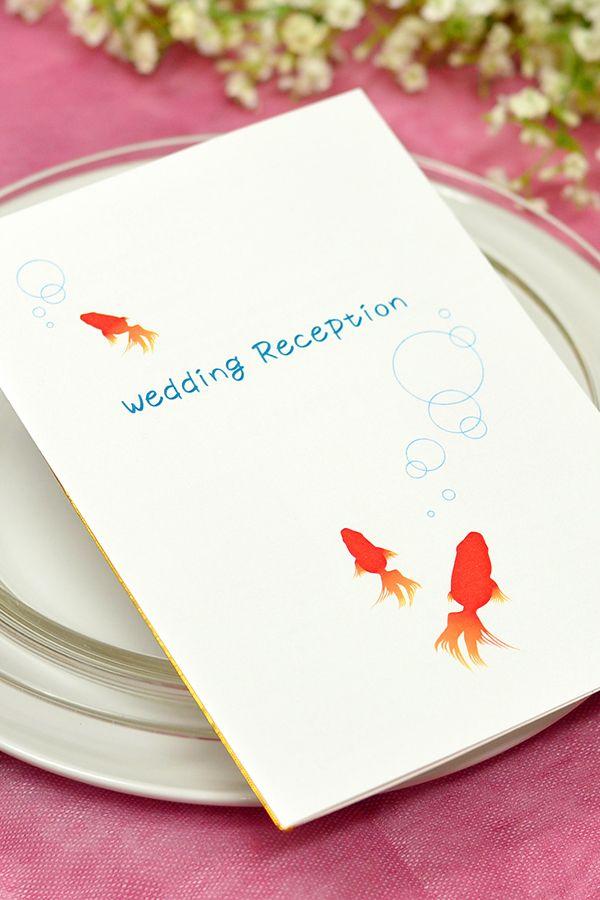 手作り【席次表キット】金魚 金魚をモチーフにした涼しげな和風デザインの手作り席次表キット。 夏結婚式の方にオススメ! 落ち着いた雰囲気の会場に華を添えるデザインです。
