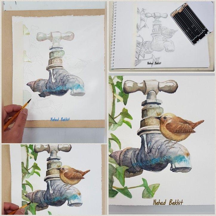 Bird Tap In Watercolour Dessin Aquarelle Peinture