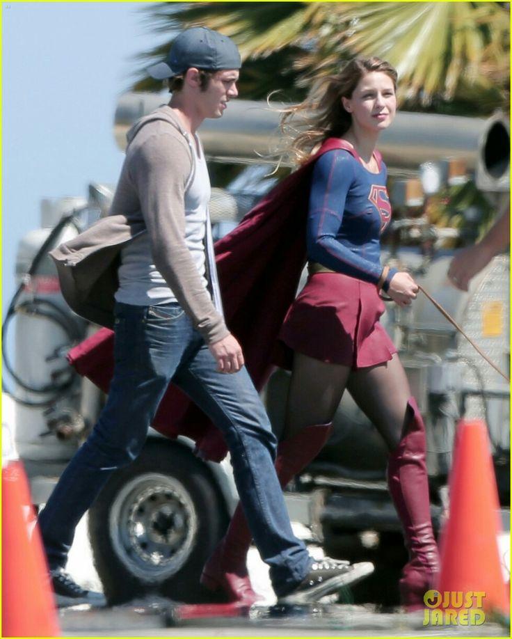Melissa Benoist (Supergirl) with her husband (Blake Jenner) on the set of Supergirl