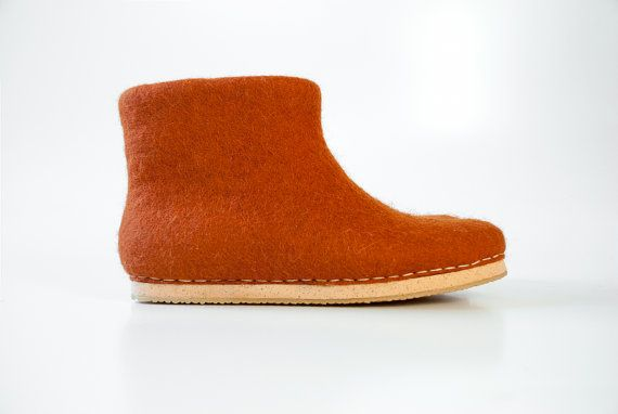 New 2016 collection Cinnamon Boots - Felt natural wool handmade shoes - boiled wool booties - valentines day gift