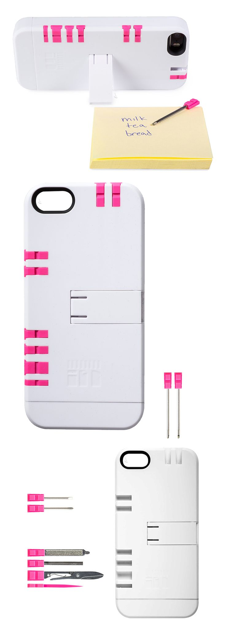 iPhone Toolkit Case // with blue pen, red pen, Phillips screwdriver, flathead screwdriver, kickstand, nail file, tweezers, scissors and toothpick! #product_design