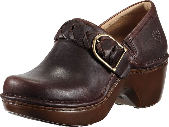 Ariat Amy in Fig in $129.95. Ariat clogs are western inspired and  platformed. These