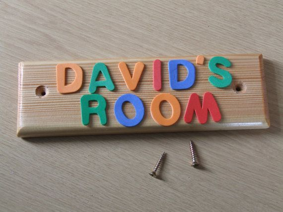 Wooden door name plate for children's or by Justdriftingthrough, £9.99