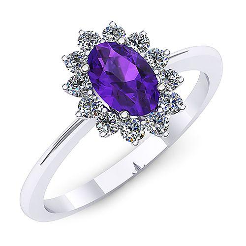 Inel de logodna din aur alb, cu un ametist oval si diamante de jur imprejur