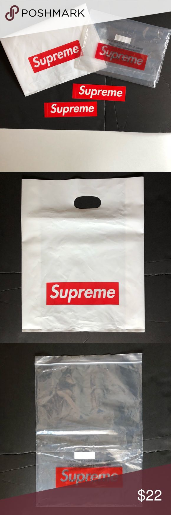Supreme Red Box Logo Stickers Clear And White Bag White