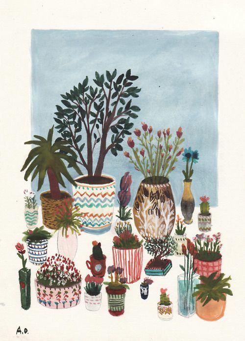 artwork by angela dalingerPlants Can, House Plants, Gardens Illustration, Angela Dalinger, Pots Flower, Succulents Can, Painted Pots, Painting Pots, Potted Flowers