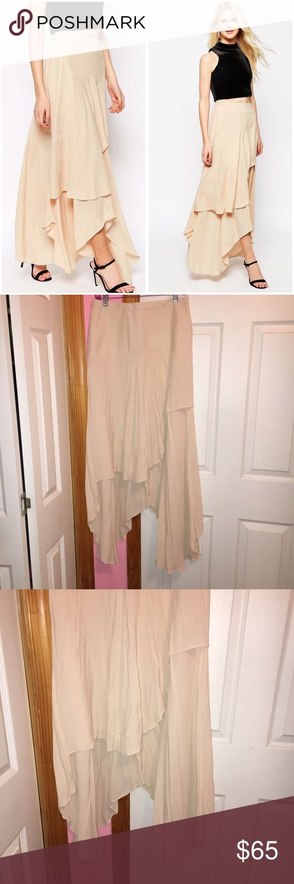 ASOS Floaty Maxi Skirt with Layers Only tried on. Has been washed. Color is nude. Does have a cease in the skirt as seen in the photos. Woven crepe. Unlined. Side zip. 100% viscose. Stock photos from ASOS. ❌NO TRADES❌ ASOS Skirts Maxi