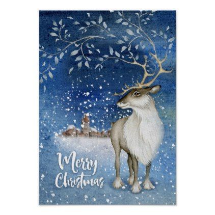 Christmas deer poster - New Year's Eve happy new year designs party celebration Saint Sylvester's Day