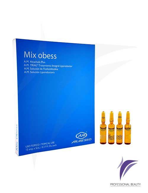 Mix Obess Caja x12 ampolletas de 5ml: Mix Obesidad. Novedosa presentación en kit de 4 referencias de productos Alcachofa Plus / Trial / Fosfatidilcolina / Solución Liporeductora indicado para tratamientos de obesidad que le permite al profesional utilizarlo de acuerdo a las patologías de cada paciente.