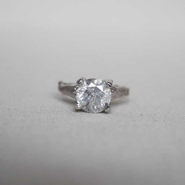 Solid White Gold Sparkle In The Wild Two Carat Grey Diamond Ring