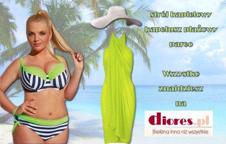 Możesz wyglądać dobrze i czuć się pewnie spędzając czas na plaży. Wystarczy dobrze dobrany strój i eleganckie dodatki.  Zobacz co dla Ciebie przygotowaliśmy na www.diores.pl #plaża #strójkąpielowy #dużerozmiary #bikini #tankini #bielizna #bieliznadamska