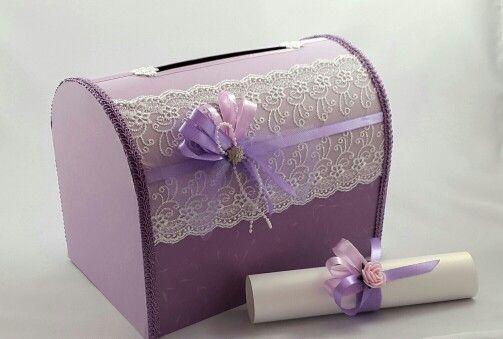 Коробка для подарков молодоженам и пригласительный на свадьбу в фиолетово-сиреневом цвете