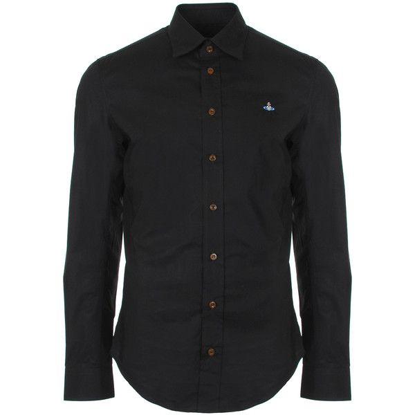 Vivienne Westwood Stretch Poplin Classic Stretch Shirt (€335) ❤ liked on Polyvore featuring men's fashion, men's clothing, men's shirts, men's casual shirts, vivienne westwood mens shirts, mens embroidered shirts, mens slim fit casual shirts, mens navy blue shirt and mens logo t shirts