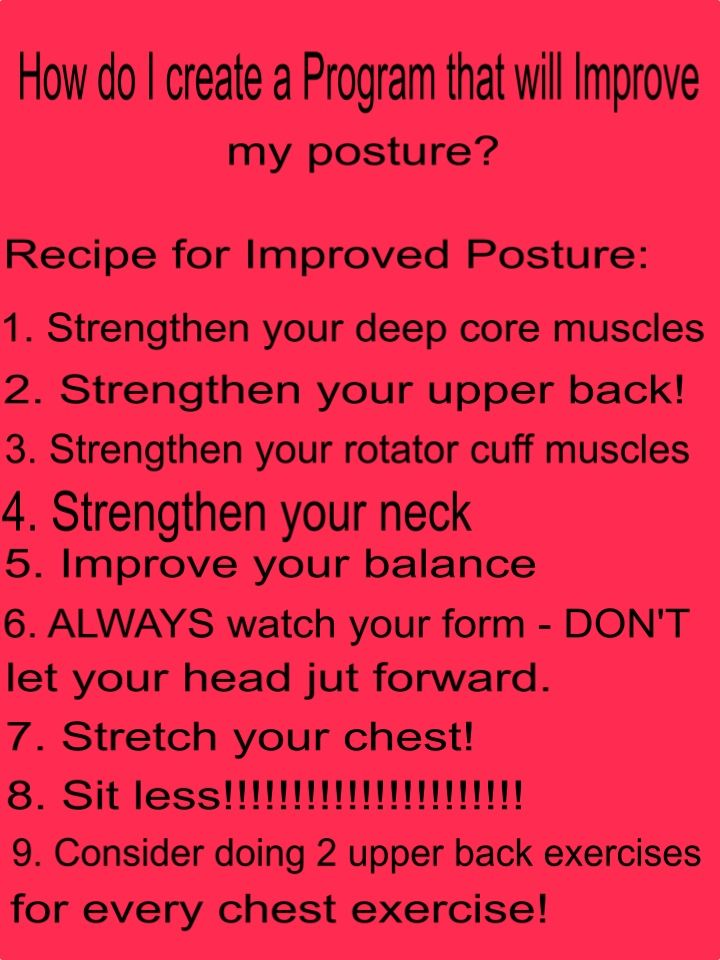 Concerned about your posture? Here are 9 tips to help you design a program that will help improve your posture instead of damage it! Too many of us go to the gym and actually reinforce our negative biomechanics. You don't have to - your program can be challenging, effective and helpful! for more info read this https://ask.theglobeandmail.com/what-are-the-best-exercises-to-strengthen-the-core-and-improve-posture/