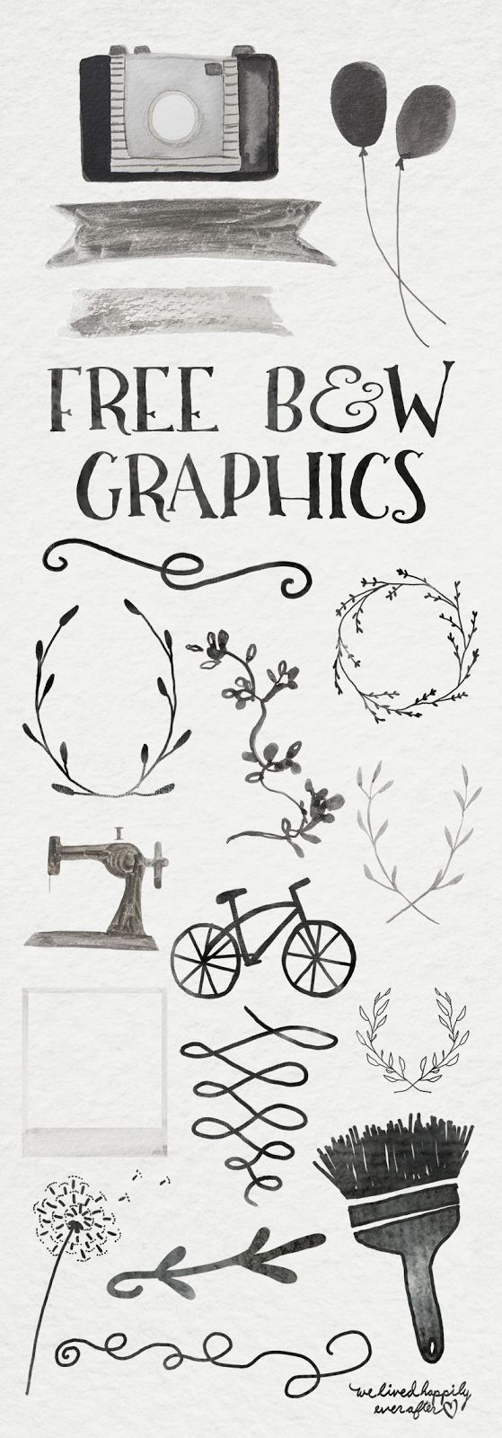 B&W Ink Digital Graphic Freebiees