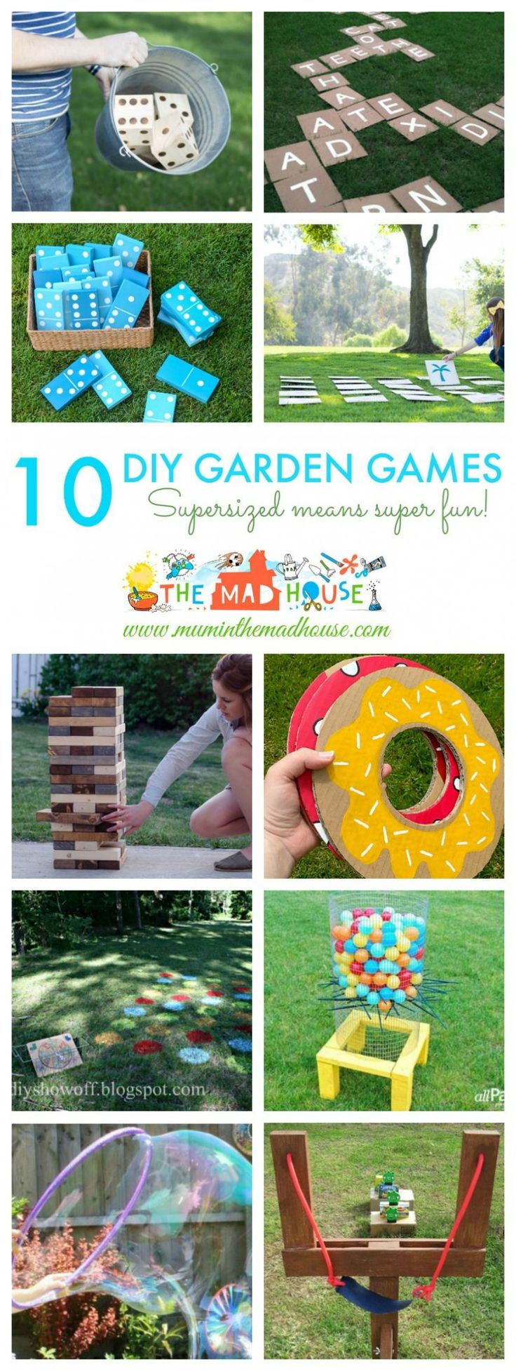 10 DIY Giant Garden Games - supersized means super fun for these amazing backyard and garden games.  They are perfect for a family night or for weddings and parties.  Children and adults alike will have so much fun playing these garden games.