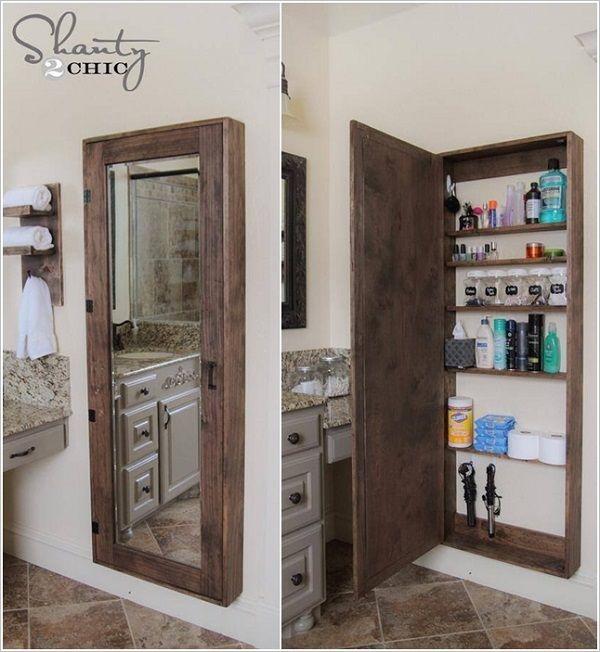 DIY Bathroom Storage Idea - Organization www.shanty-2-chic.com LOVE this! Perfect for small bathroom. Would love it built in.