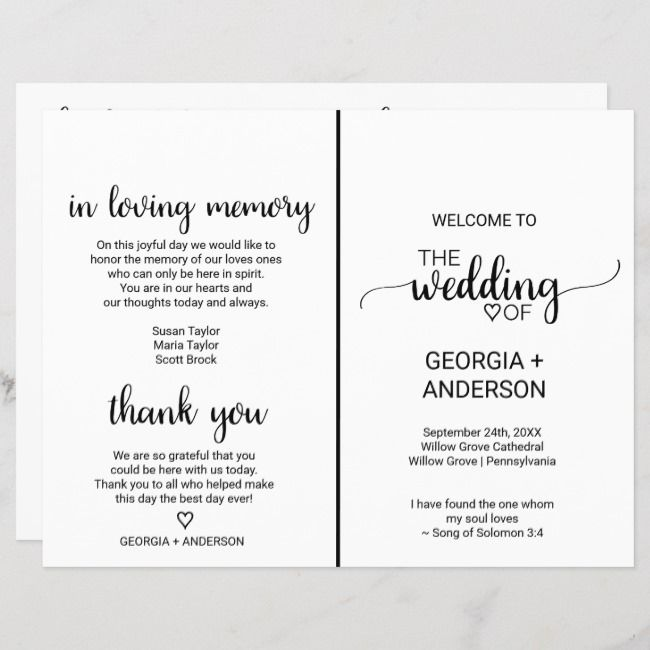 Simple Black Calligraphy Folded Wedding Program Folded Wedding Program Calligraphy Wedding Programs Rustic Wedding Programs The Wedding Date