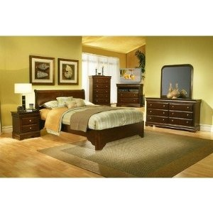 Chesapeake Queen Low Profile Sleigh Bedroom Set in Cappuccino