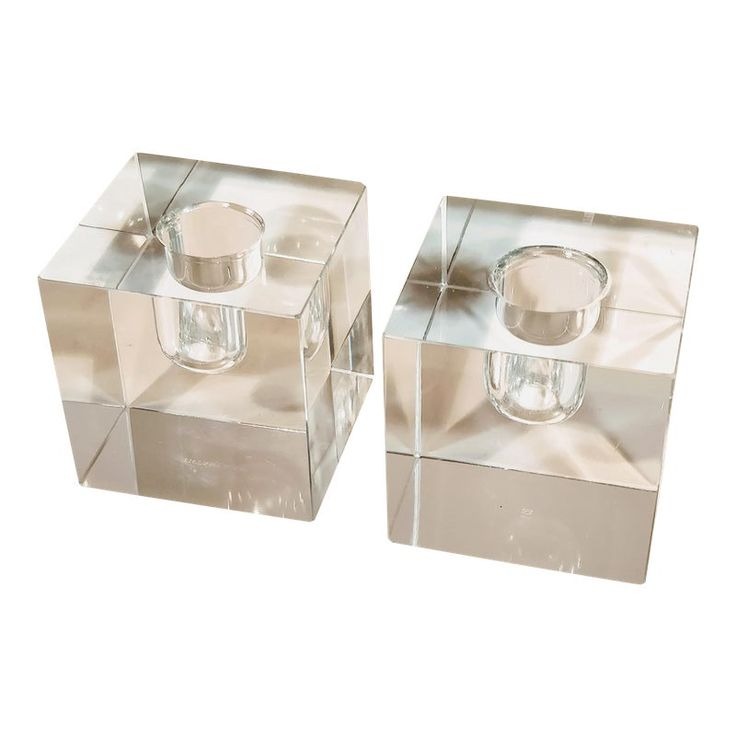 Vintage Tiffany & Co Crystal Candle Holders – a Pair
