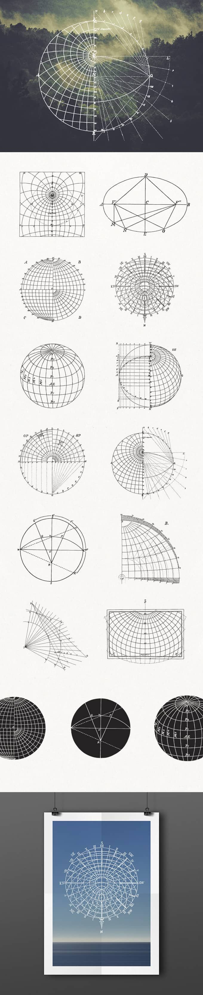 Ces 13 packs d'éléments vectoriels thématiques viendront enrichir vos ressources graphiques : monogrammes, formes géométriques complexes, éléments marins ...