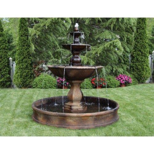 "79"" Three Tier Boca Hexagon Fountain on 6' Pool"