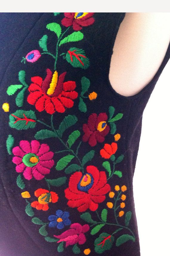 Hungarian Vest Embroidery Short Black Wool Vest by goldeneight