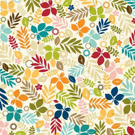 Bella Blvd Hello Autumn. Colorful leaves patterned paper. Item #790 FALLING INTO FALL