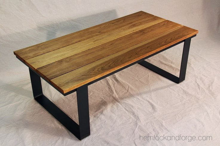 Coffee Table Industrial Rustic Black Oxide Patina Steel Frame Hickory Top Handmade In