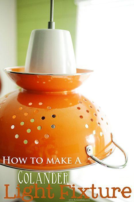 How to make a Colander light fixture #chandelier www.KristenDuke.com