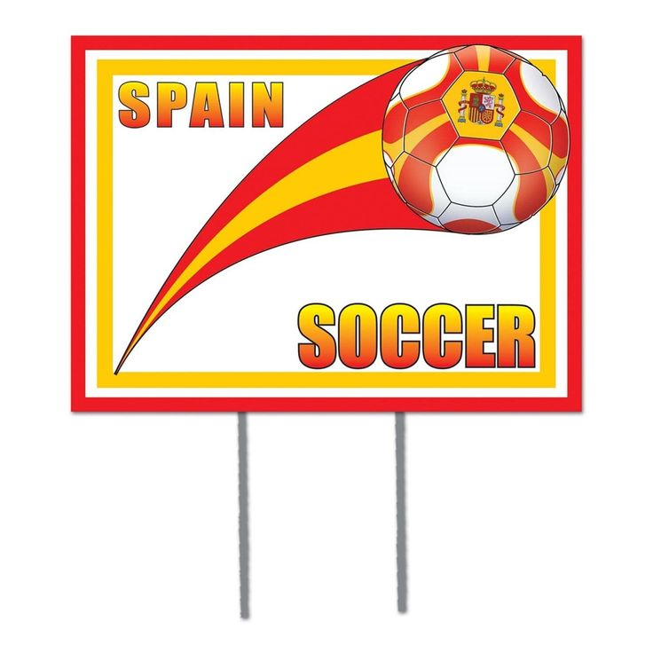 """Pack of 6 Red, Yellow and White Spain"""" Soccer Themed Yard Signs 16"""""""