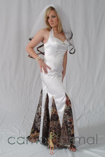 Spectacular Camo Wedding Dress Style Mermaid Halter with Godets Camo Wedding Dress Dress Photos