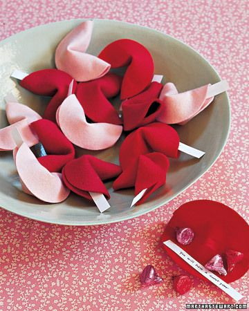 """construction paper or felt """"cookies"""" with personalized fortune and hershey kisses inside (perfect for vday or anniversaries)"""