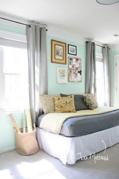 I'd like to turn my husband's childhood twin bed into a daybed in our home office.