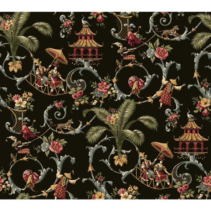 WALLPAPER BY THE YARD Waverly Wallpaper WA7769 Mandarin Prose Oriental Asian Toi #WaverlyYork