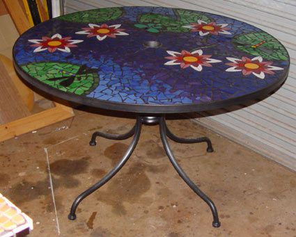 Tile Top Patio Tables | ... Waterlillies Mosaic Table In Ceramic Tiles By  Brett